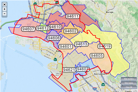 Oakland Zip Code Map | Zip Code MAP