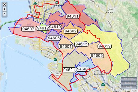 Oakland Ca Zip Code Map | Zip Code MAP