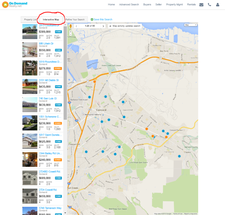 Advanced Search Map Results