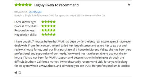 Zillow review for Vicki Pedersen, Pedersen Real Estate
