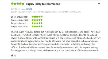 Zillow review for Vicki Pedersen, Pedersen Real Estate