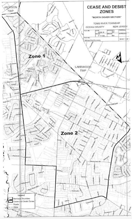 Cease & Desist Zones (1 & 2) in the North Dover Section of Toms River