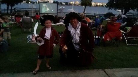 Rob dressed like a pirate when visiting movie night at The Landing