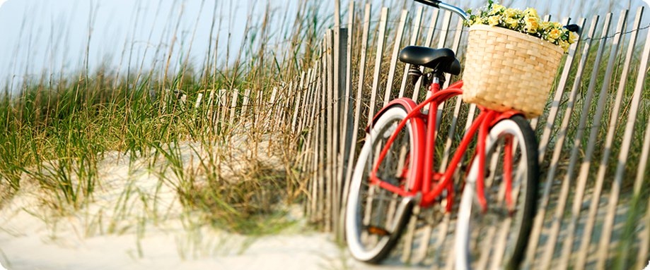 Bike on a beautiful Wilmington beach.