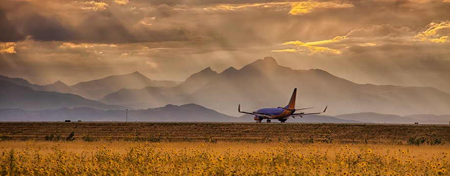 Southwest Airlines landing in Denver, Colorado