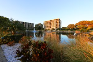 Looking across the lake at Beachplace on Longboat Key