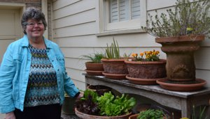 Ann Martin in her Container Garden, Houston, TX 77005
