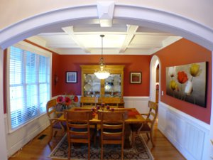 Dining room with coffered ceilings at 50 Evening Ln_Clayton NC