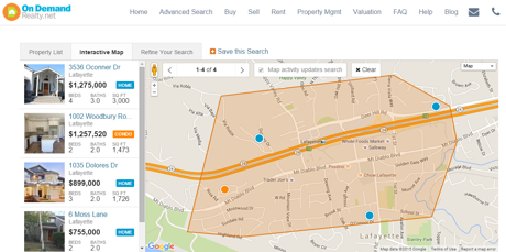 Lafayette BART Homes for sale map